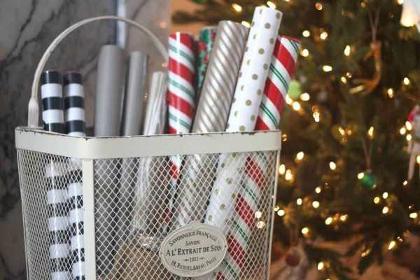 gift wrapping paper in basket