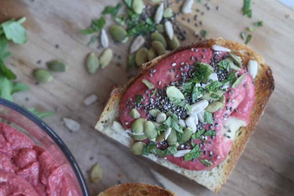 seedy hummus toast